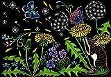 スクラッチアート 季節の花と動物たち 画像
