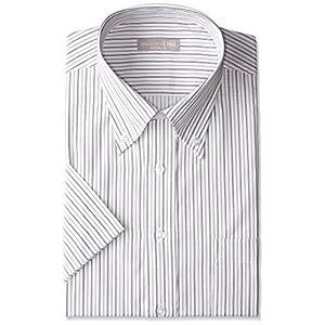半袖ボタンダウン 白地ブラックストライプ ワイシャツ ボタンダウン 半袖ワイシャツ メンズ 半袖 Yシャツ Mサイズ