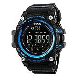Ommda メンズ 腕時計 防水 スポーツウォッチ LED デジタル ブルートゥース 歩数計 活動量計 カロリー 着信電話 SMS APP 通知 時計 リモートカメラ ブルー