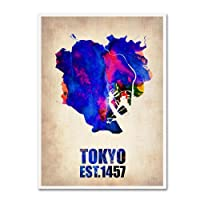 Tokyo Watercolor Map by Naxart 18 by 24-Inch Canvas Wall Art [並行輸入品]