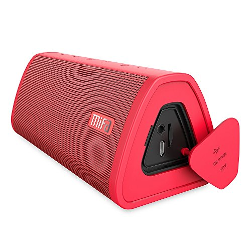 MIFA A10 スピーカー Bluetooth 4.2 ポータブル TWS機能対応 工場直販 デュアルドライバー 大音量 ハンズフリー通話 Micro SDカード機能つき【赤】