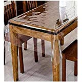 Golden Linens Clear Plastic Transparent Tablecloth Protector Water Proof Heavy Duty Easy Clean, Long Lasting Kitchen Dinning