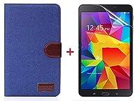 サムスン Samsung Galaxy Tab4 7.0 T230専用 ジーンズケース スタンド機能付き デニム生地カバー 3色「521-0020」 (ケース+透明液晶保護フィルムセット インディゴブルー)