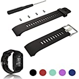 For Garmin Forerunner 35 GPS Running Watch Replacement Band Strap - Feskio Accessory Adjustable Soft Silicone Replacement Wrist Watch Strap Band Bracelet with Installation Screwdriver and Lug Adapters