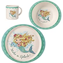 Precious Moments 191484 Mermaid Toddler Mealtime Feeding Set: Plate, Bowl, Cup, Multi