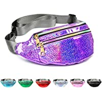 Fanny Pack Belt Bag, Holographic Fanny Packs for Women Men Kids, Fashion Waterproof Waist Pack with 3 Pouches Adjustable Strap, Shiny Causal Bags Cute Bum Bag Hip Sacks for Travel Festival Hiking Rave