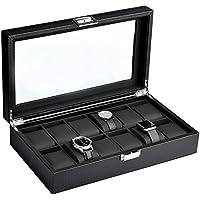 Mantello 12-Watch Display Box Carbon Fiber Design w/ Glass Top