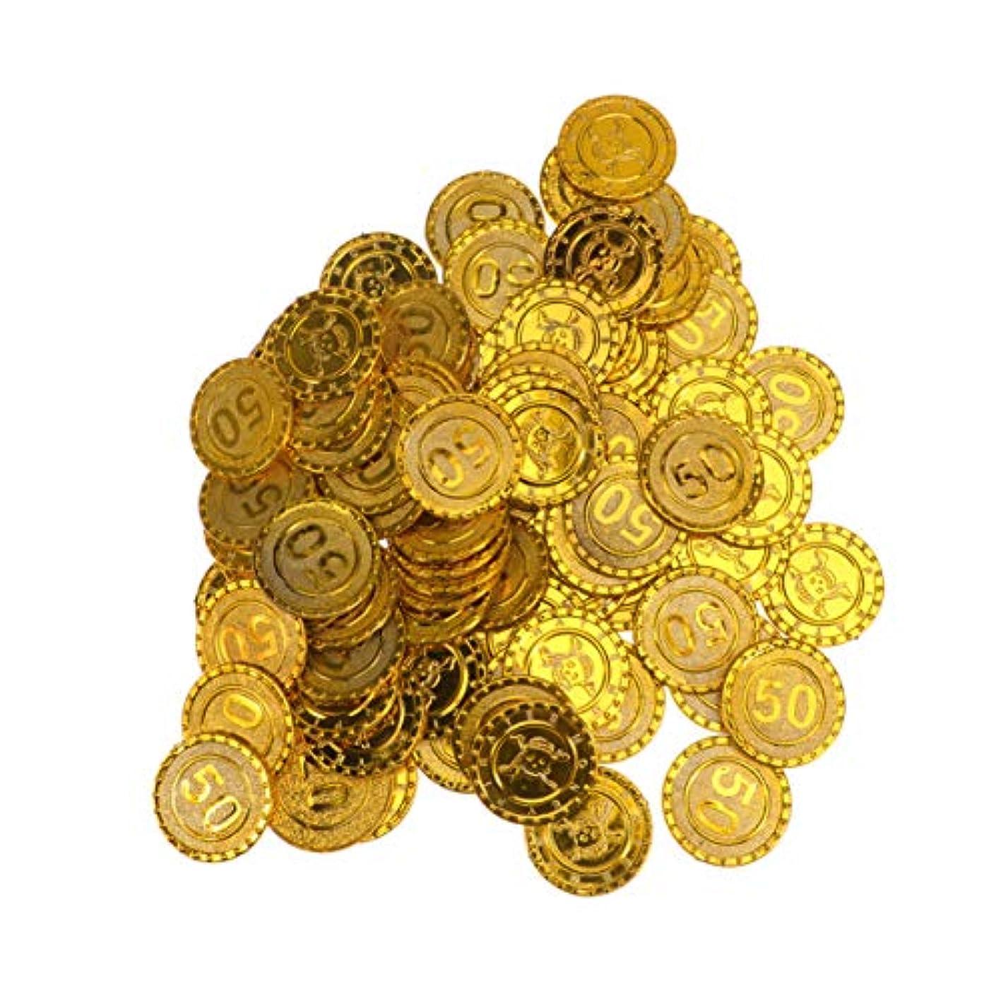 私たち自身出席する間隔Amosfun ゲームコイン海賊トレジャーコイン偽コイン宝くじコイン小道具海賊子供誕生日パーティー用品100ピース(宗派50)