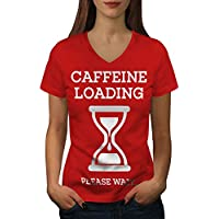 Wellcoda カフェイン 積載 おもしろいです 婦人向け S-2XL リンガーTシャツ