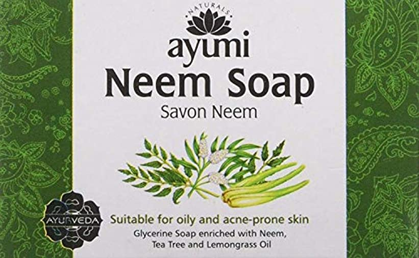 炭水化物イデオロギーハードAyuuri Ayurvedic Herbal Natural Neem Soap 100g by Ayuuri