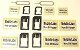 Mobile Labo 【Amazon即日出荷】黒【iPhone6 6PLUS 5s 5c 5G 〓純正】ドコモ〓foma対応 落下防止機能付nano SIM micro sim変換アダプターとSIMピンの4点セット For iPhone6 6PLUS 5 4S 4 nano sim→SIMカード or ぴったりフィットする落下防止機能付 nano sim→micro sim +MicroSIM→SIMカードアダプター(黒)とSIMピンの4点セット×2 シール9枚セット