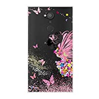 携帯ケースSony Xperia L2 トランスペアレント薄型 かわいい ケース、シリコン ソフトフレーム tpu カバー、ユニーク 人気 ゴージャス 耐 汚れ 滑り防止 反塵 耐衝撃 弾性 軽量 衝撃吸収 全面保護カバー, 超軽量ケース、子供、女の子、男の子、婦人の、男人のための - 女性色の花ピンクの蝶