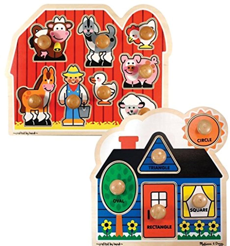 バンドルIncludes 2アイテム – Melissa & Doug Farm AnimalsジャンボKnob木製パズルand Melissa & Doug First ShapesジャンボKnob木製パズル