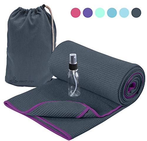 Heathyoga ヨガタオル ヨガラグ 独創的な隅袋デザイン 有機物シリコンのコーティング 吸水 速乾 バッグ付き スプレー・ボトル付き ホットヨガ ビクラムに適用
