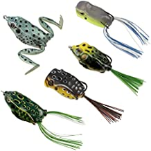 RUNCL Topwater Frog Lures, Soft Fishing Lure Kit with Tackle Box for Bass Pike Snakehead Dogfish Musky (Pack of 5)