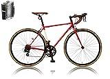 カノーバー クラシック ロードバイク 700C シマノ14段変速 CAR-013 (ORPHEUS) ステンレスボトル&ケージセット クロモリフレーム フロントLEDライト付 レッド