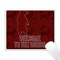 赤いスクラップブックスタイルのウッズの熊へようこそ PC Mouse Pad パソコン マウスパッド