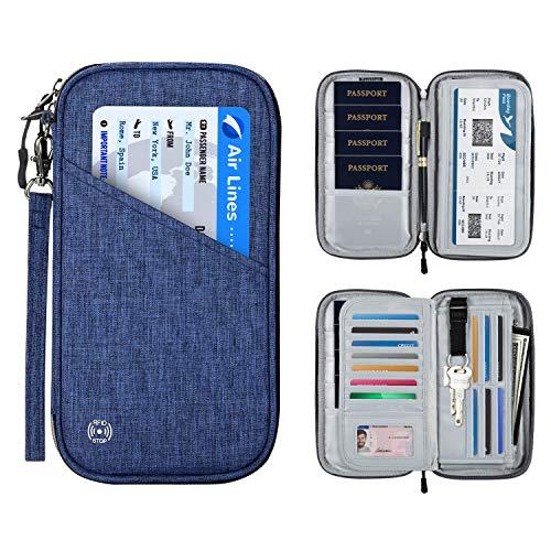 SHINPACK パスポートケース スキミング防止 アコーディオンデザイン 家族 国内海外旅行用品 四つのパスポート 通帳ケース 航空券 紙幣 カード 小銭 ペン 鍵など収納可 大容量 トラベルウォレッド パスポートバッグ ポーチ (ブルー)