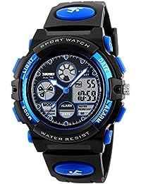 子供腕時計 ボーイズスポーツウォッチ アウトドア多機能 アラート 日付曜日表示 デュアルタイム LED アナログ表示 女の子男の子 デジタルウォッチ (ブルー)