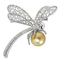 真珠の杜 南洋白蝶真珠 ダイヤモンド K18 ホワイトゴールド トンボデザイン ブローチ レディース
