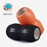 Peanut Foam Roller for Muscle Exercise and Myofascial Massage, Physical Therapy, Grid Textured Sports Medicine Foam Roller Fitness Rollers Deep Tissue Massage and Trigger-Point Muscle Therapy, Back/Full Body Stiffness Relief, Tension Release, Pilates & Yoga 33x13cm