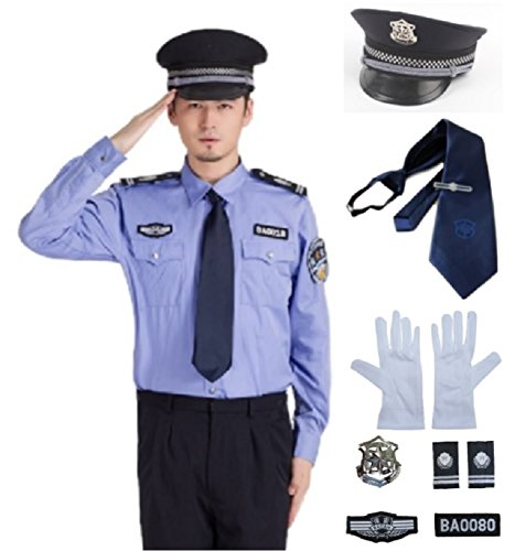 Reagle(リーグル)メンズ ポリス コスプレ 4点セット 男性用 警官 警察 保安官 警備員 ハロウィン コスチューム 宴会 衣装 仮装 パーティー (XL)