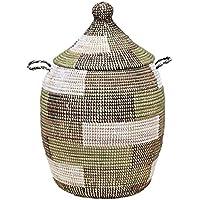 アフリカのランドリーバスケット/セネガルバスケット/手編み/天然素材/水草/ふた?取っ手付きブロック柄カーキ