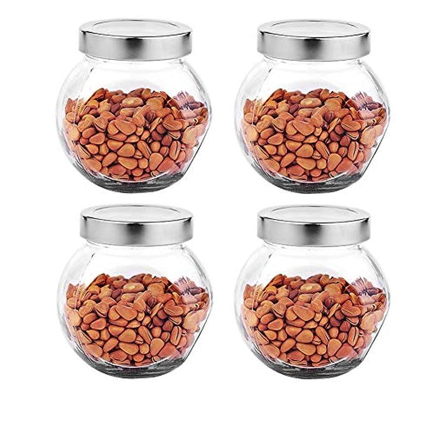 本体ぎこちない清める4つの透明ガラス貯蔵容器茶/季節密封缶の貯蔵ジャーパック(450 ml)