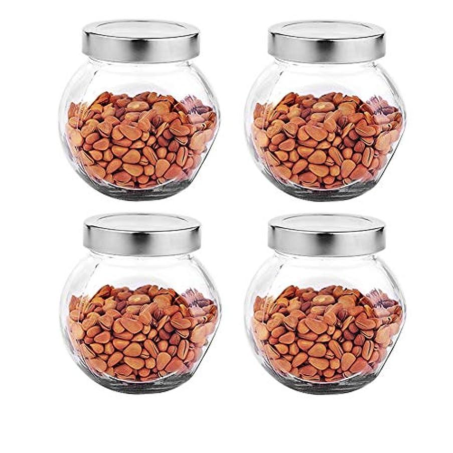 降伏崖運営4つの透明ガラス貯蔵容器茶/季節密封缶の貯蔵ジャーパック(450 ml)