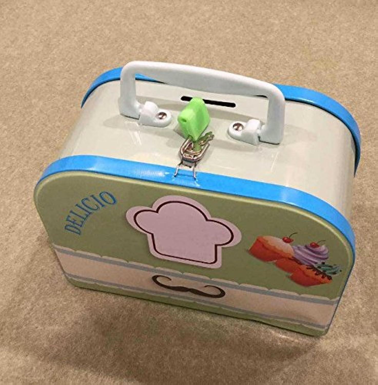 マネー バンク スーツケースピギーバンク小説錫収納ボックス誕生日プレゼント(ライトグリーン)