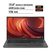 2019 ASUS VivoBook 15 15.6 Inch FHD 1080P Laptop (AMD Ryzen 3 3200U up to 3.5GHz, 4GB DDR4 RAM, 1TB SSD, AMD Radeon Vega 3, Backlit Keyboard, FP Reader, WiFi, Bluetooth, HDMI, Windows 10) (Grey)