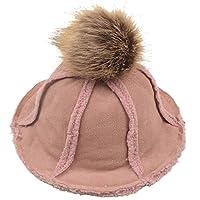 子供の漁師の帽子、秋冬ファッションSlouchy暖かい太陽のキャップの顔カバービッグボールポムポン2~5歳の子供のための旅行写真(48から52センチメートル)