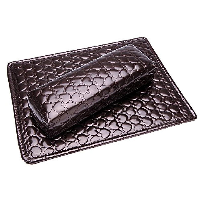 ACAMPTAR ソフトハンドクッション枕とパッドレストネイルアートアームレストホルダー マニキュアネイルアートアクセサリー PUレザー 褐色
