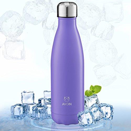 AVOIN colorlife 水筒 ステンレス 真空断熱 保温保冷 直飲み スポーツボトル 500ml 多色