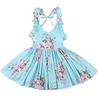 SAYOO Baby Girls' Floral Princess Backless Dress