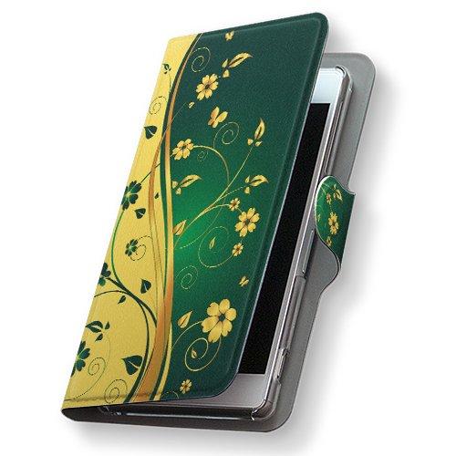 GALAXY S4 SC-04E ケース 手帳型 スマコレ 全機種対応 有り レザー 手帳タイプ 革 フリップ ダイアリー 二つ折り 横開き 革 SC04E ケース スマホケース スマホカバー クール 007556 Samsung サムスン docomo ドコモ 花 フラワー 緑 グリーン イエロー sc04e-007556-nb