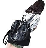 【NamiSeven7】リュック リュックサック PUレザー ホワイト ブラック 2色 レディース 通学 通勤 3wayリュック (黒)