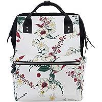 ママバッグ マザーズバッグ リュックサック ハンドバッグ 旅行用 ベージュ レッド 花柄 白背景 ファション