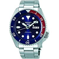 Seiko 5 Sports Men's Automatic Watch Blue Dial Red and Blue Pepsi Bezel Analog Display and Stainless Steel Strap, SRPD53K