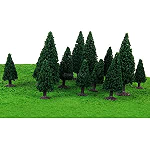 15 PC 2.36 インチ 3.94 インチダークグリーンの風景風景モデルの杉の木 - STI#b4err4gr4145e 51306