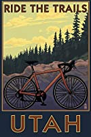 ユタ州 – Mountain Bikeシーン 24 x 36 Signed Art Print LANT-34099-710