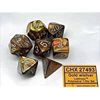 Chessex Manufacturing 27493 Lustrous Gold With Silver Numbering Dice Set Of 7おもちゃ [並行輸入品]