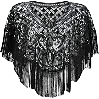 1920s Shawl Wraps Sequin Beaded Evening Cape Shawl Bolero Flapper Cover Up