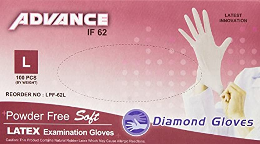 なめらか窒素移民Diamond Gloves Advance Powder-Free Soft Latex Examination Gloves, 5.9 Mil, Large, 100 Count by Diamond Gloves