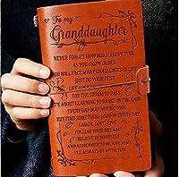 Granddaughter Journal - Grandma レザージャーナル - Laugh - Love - Live 7.88インチx4.7インチ エンボスヴィンテージ詰め替え可能ライティングジャーナル クリスマス 誕生日用