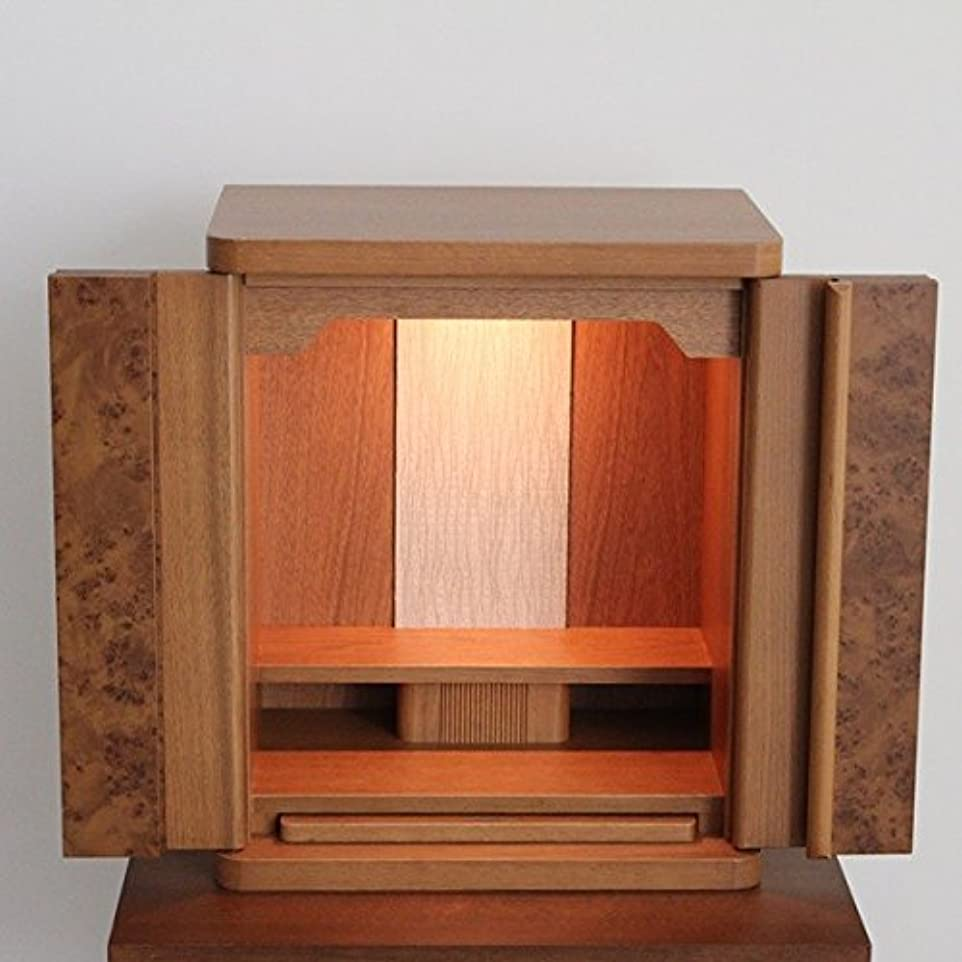 三十証明ハント仏壇 国産 14号 家具調モダン仏壇 小型 クルミ総張材 玉木仕上げ