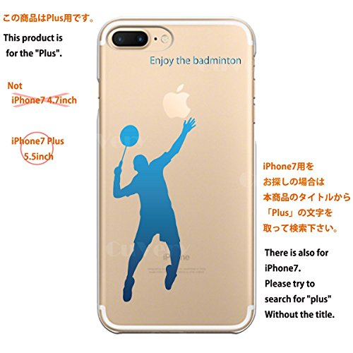 iPhone7 Plus iPhone8 Plus 兼用 ハード クリア ケース 保護フィルム付 バドミントン (ブルー)
