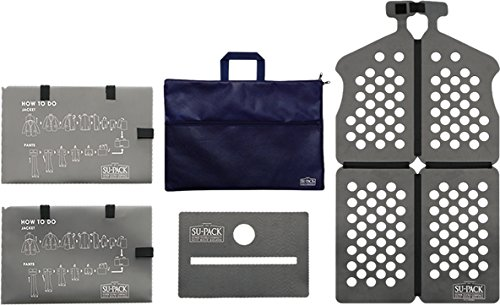 SU-PACK Clean NabyBlue スーツを4分の1にコンパクト収納。[世界初]特許ホルダーでビジネスバッグやキャリーケースに入る[世界最小級]ガーメントケースセット 5点セット(スーパック クリーン[抗菌・消臭])[男性用](ネイビーブルー)