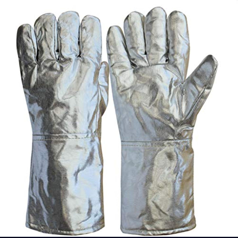 衰えるボトルに応じてアルミホイル手袋高温製錬五本指断熱放射銀色