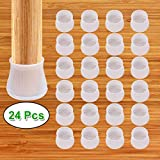 Silicon Chair Leg Floor Protectors - 24Pcs - Anti-Slip Chair Leg Caps - Round & Square Furniture Table Feet Cover - Prevents Scratches and Noise Without Leaving Marks (Transparent)